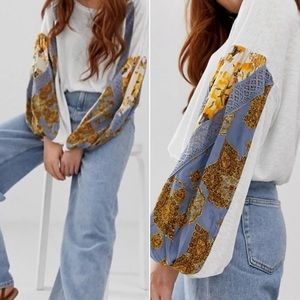 Free People Casual Clash Top Mixed Pattern Sleeve